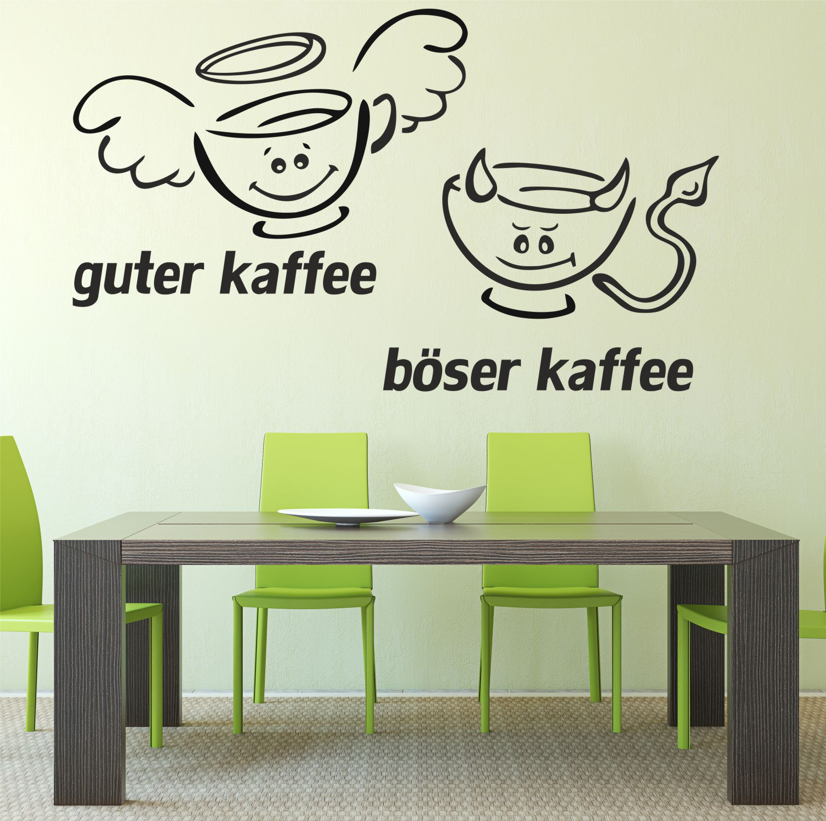 wandtattoo aufkleber guter kaffee b ser kaffee spr che zitate sticker cafe k che ebay. Black Bedroom Furniture Sets. Home Design Ideas