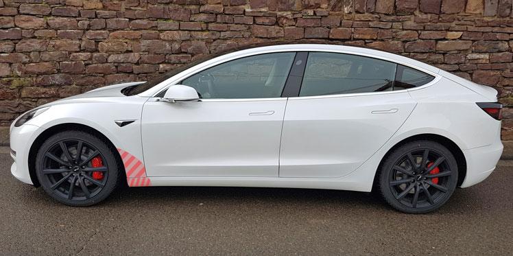 Transparentes Schutzfolienset Tesla Model 3 vorderer Seitenschweller