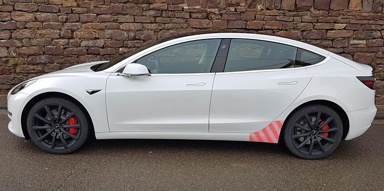 Transparentes Schutzfolienset Tesla Model 3 hinterer Seitenschweller